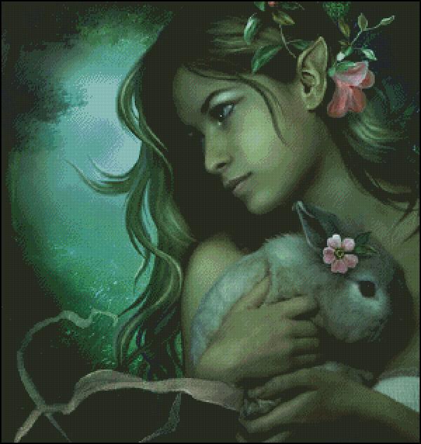 Схема для вишивання Дівчина з кроликом