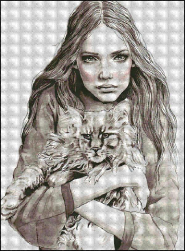Схема для вишивання Дівчина з котом