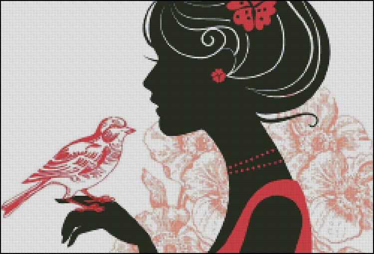 Схема - Дівчина з пташкою в квітах