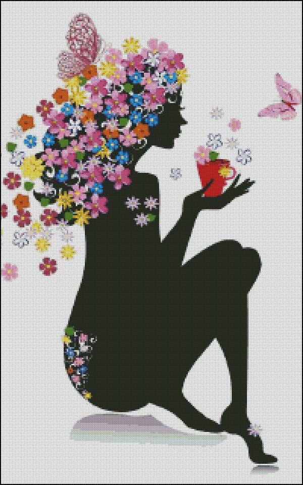 Схема для вишивання Силует з квітами