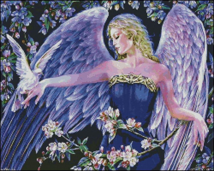 Схема для вишивання Ангел з голубом