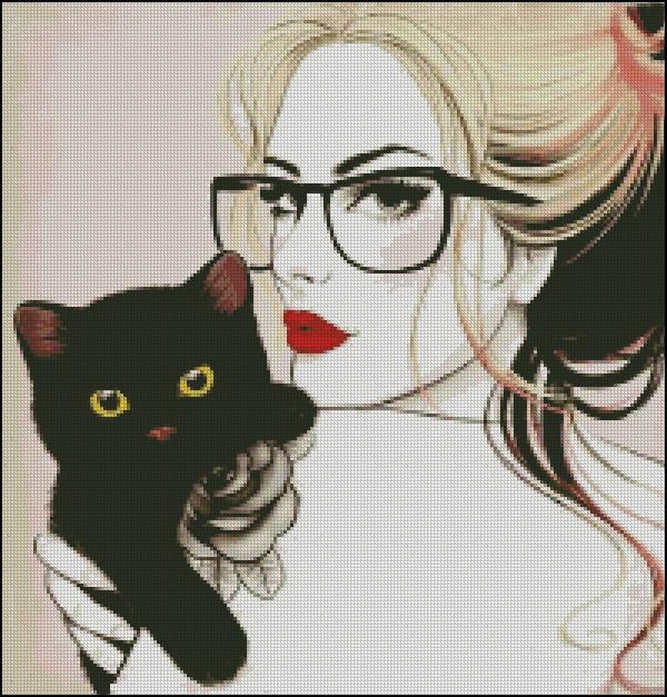 Схема для вишивання Чорне кошеня