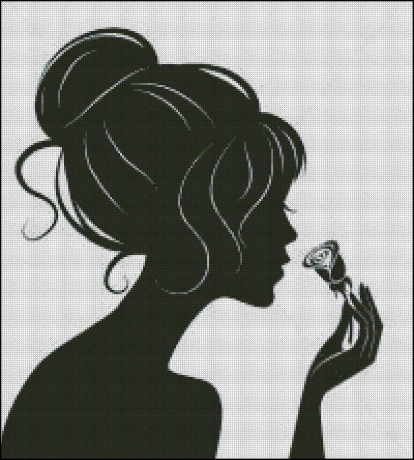 Схема для вишивання Дівчина з розою