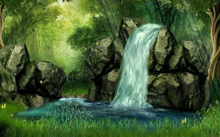 Анімаційна шпалера на робочий стіл - Водоспад у лісі