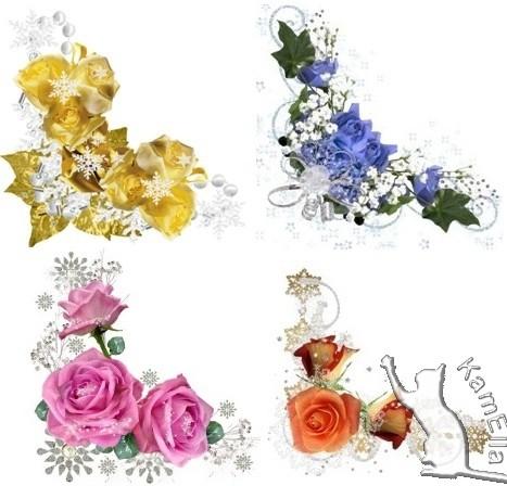 Зимові кутики з розами і сніжинками