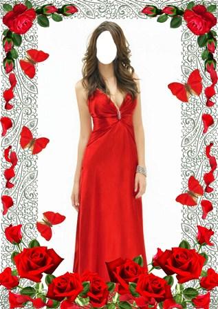 Червоні рози шаблон для фото