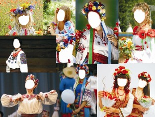 Дівчата в українських костюмах