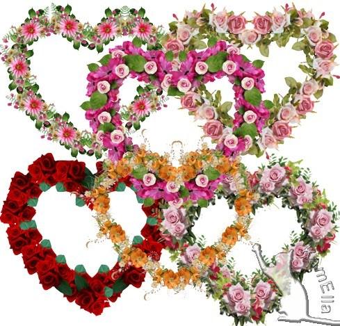 Рамки-сердечки з квітів