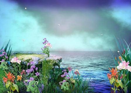 Анімаційна шпалера на робочий стіл - Берег з квітами
