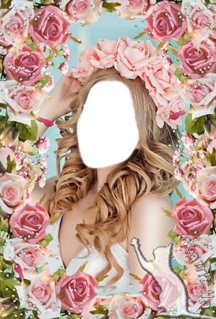 Шаблон і рамка для фото - Вінок з ніжних роз